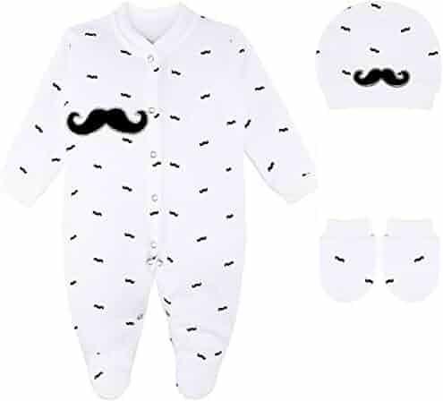 b1dca8604 Lilax Baby Boy Mustache Print Footie, Hat and Mitten 3 Piece Gift Set