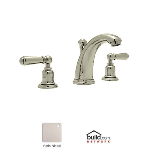 Rohl U.3760L-2 Perrin and Rowe Widespread Bathroom Faucet with Metal and Porcela, Satin Nickel