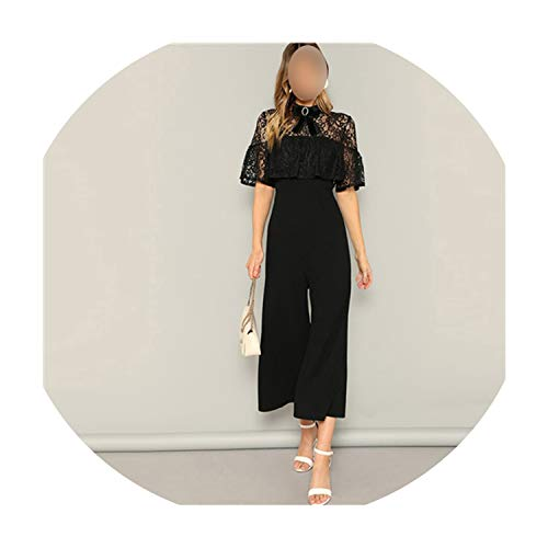 (Bow Detail Lace Bodice Ruffle Foldover Wide Leg Jumpsuit Women 2019 Summer Autumn Solid Sheer Elegant Jumpsuit,Black,L)