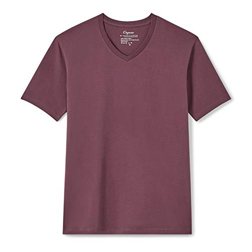Organic Signatures Men's Short-Sleeve V-Neck Cotton T-Shirt (Large, Burgundy)