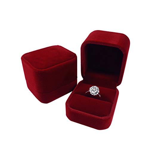 Red Ring Velvet (duoduodesign Classic Velvet Engagement Ring Box (Rose Red))