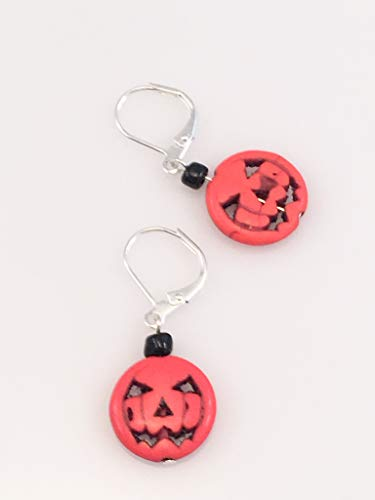 Jack-O-Lantern Pumpkin with Black Crystal Earrings ()