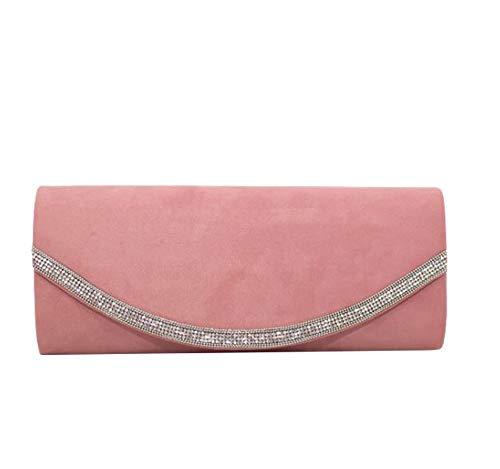 Haute for Diva Ladies Diamante Decoration Clutch Bag Dusty Pink Dusty Pink