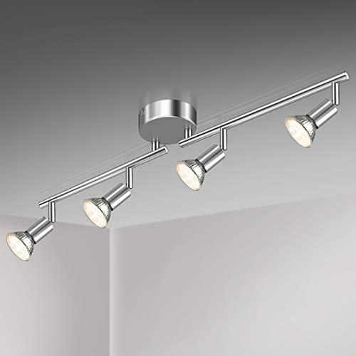 Unicozin LED plafondlamp, 4 lampen LED plafondspot draaibaar chroom, incl. 4 x 3.5W GU10 LED-lampen, 380LM, warm wit…