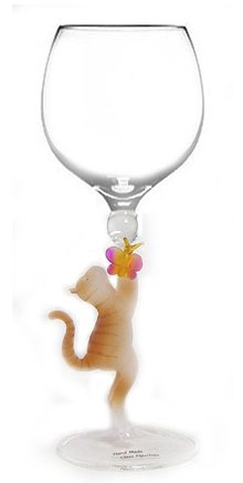 Cat with Butterfly Hand Blown Wine Glass