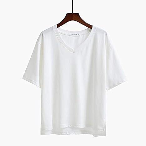 TSNMNB Ropa Negra Pura Blanca con Cuello en V Manga Corta Camiseta Coreana Flojo Retro Sabor 2 Hong Kong Verano Femenino, L, Modelos de Color Blanco con Cuello en V: Amazon.es: Deportes