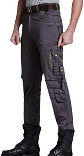 Mfasica Mens Rugged Wear Multi Pockets Relaxed-Fit Casual Cargo Trousers