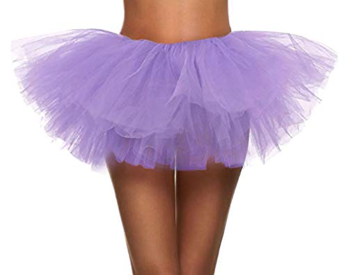 Simplicity Women's Classic 5K, 10K Run 5 Layered Tulle Tutu Skirt, Lilac