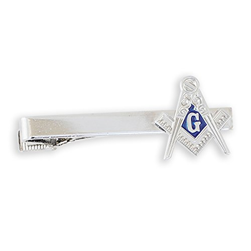 Forge Masonic Compass Enamel Cufflink + Lapel Pin + Tie Bar (Silver Tie ()