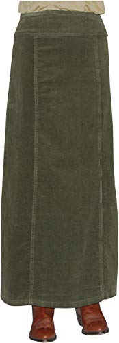 Baby'O Women's Long Ankle Length Stretch Corduroy A-Line Panel Skirt