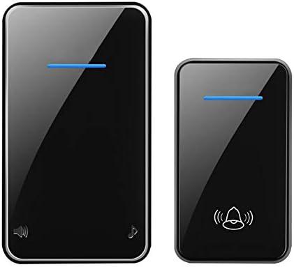スマートワイヤレスホームドアベル、1000ft範囲の防水調整可能な音楽ドアチャイムキット、1プッシュボタンと1レシーバー、48着信音、6ボリュームレベル(0-115 dB),黒