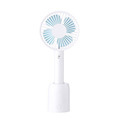 INMEE Mini Handheld Fan, 2000mAh Lithium Ion Battery Operated, USB Charge Rechargeable, Silicone Personal Portable Fan for Home and Travel (White)