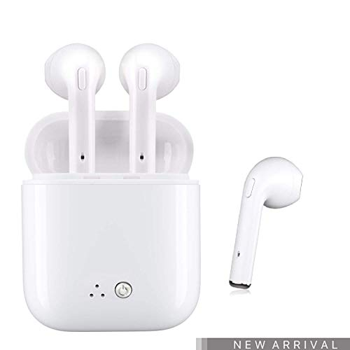 Wireless Earbuds True Wireless Earbuds 5.0 Deep Bass Bluetooth Headphone 3D Stereo Sound Earphone Gift for All Bluetooth Devices (White) ()
