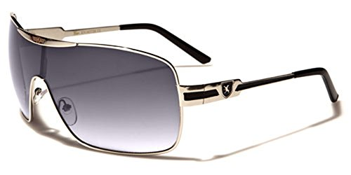 Khan Fashion Men's Square Aviator Style Sunglasses Silver Black Sport - Sunglasses Men Designer