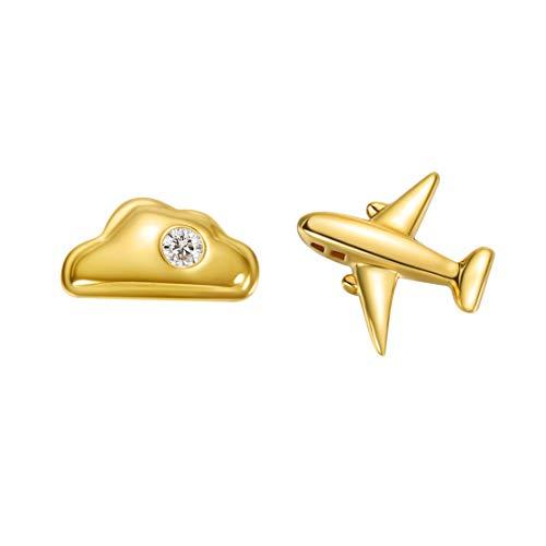 Carleen 18k Solid Yellow Gold Dainty Tiny Single Statement Earring Delicate Fine Diamond Stud Earring For Women Girls (Cloud & Airplane) (Diamond Earrings Black Studded)