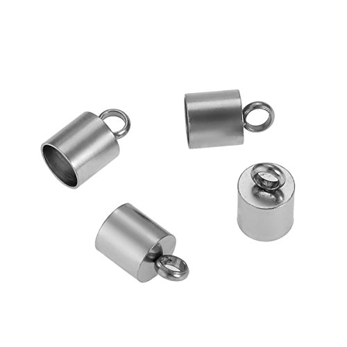 HooAMI Stainless Steel Leather Cord End Cap Bead Loop Barrel Clasp Silver Tone 10pcs(Fit 7mm (Leather End Caps)