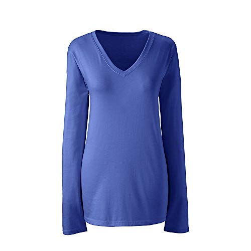 Lands' End Women's Plus Size Relaxed Long Sleeve Supima Cotton V-Neck T-Shirt, 1X, French (Plus Size Classic Cotton V-neck Tees)