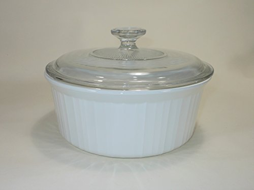 "(Vintage Corning Ware FRENCH WHITE pattern 9"" inch ROUND SOUFFLE DISH 2.5 LITRE / 2.6 QUART PYROCERAM GLASS – smooth bottom ALL WHITE BAKING CASSEROLE with PYREX CLEAR GLASS LID Mfg # F-1-B (F 1 B) F)"