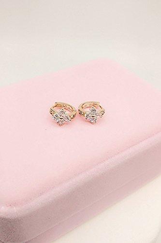 Women Gift Silver Four-Leaf Clover Earrings earings Dangler Eardrop Ear Buckle Women Girls Creative Circle Small Ear Ear Buckle 18k Accessories