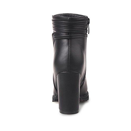 Allhqfashion Mujeres Round Closed Toe High Heels Low Top Botas Sólidas, Negro, 39