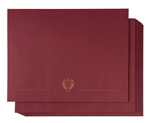 Certificate Holder - 12-Pack Diploma Cover, Document Cover for Letter-Sized Award Certificates, 300 GSM, Gold Foil Print, Red, 11.2 x 8.8 Inches ()