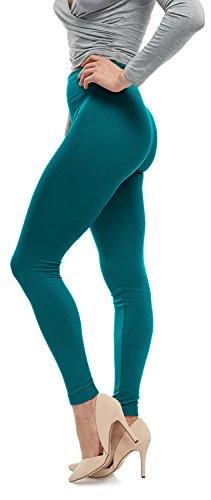 Forest Colours (LMB Lush Moda Seamless Full Length Basic Fleece Leggings - Variety Of Colors - Forest Teal OS)