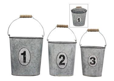 Heart of America Set of 3 Assorted 1, 2, 3 Metal Buckets
