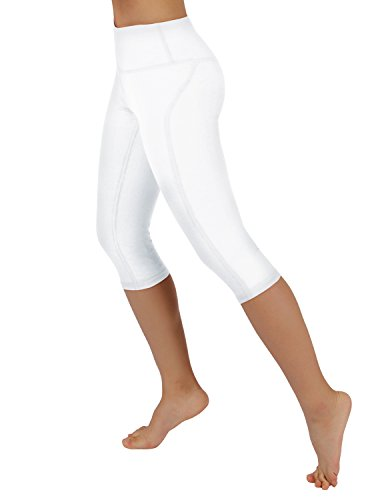 ODODOS Power Flex Yoga Capris Pants Tummy Control Workout Running 4 Way Stretch Yoga Capris Leggingss with Hidden (White Leggings)
