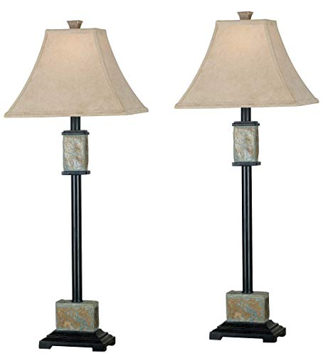 Kenroy Home 31201 Bennington Buffet Lamp, 2 Pack, Natural Slate