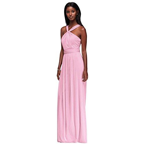 W11173 Long Bridesmaid Bridal Neck Y Dress David's Style Tickled Mesh qx8tAxf