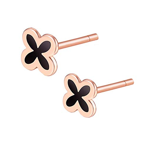 Sterling Silver Classic Black Four Leaf Clover Lucky Series stud earrings jewelry for women girls (Rose Gold)