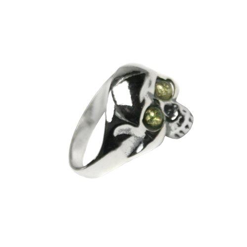 Green Amber Sterling Silver Jolly Roger Ring Ian and Valeri Co