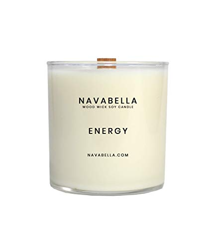 - Highly Fragrant Scented Soy Candle, Strong Top to Bottom Burn, Energy Soy Candle, Handmade w/Sweet Orange, Tangerine + Goji Berry Oils to Reduce Negativity + Alleviate Stress - 2 Wood Wicks, 50 Hours