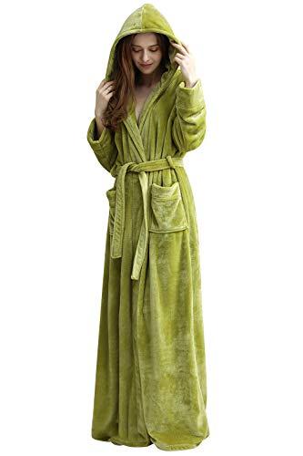Morbido Di Uomo Pile Damigella Da Notte E Accappatoio Leggero Tasche Con Robe Sleepwear Cintura Cappuccio Verde D'onore Dolamen Donna Felpa Corallo Per Pigiama qvwPP8I