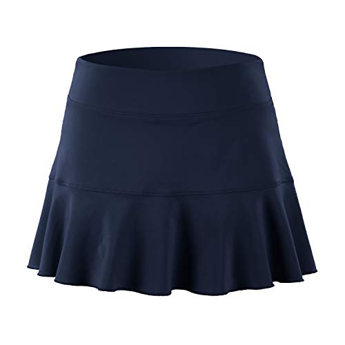 - 32e-SANERYI Women's Pleated Elastic Quick-Drying Tennis Skirt with Shorts Running Skort (X-Large, Navy Blue)