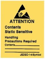 3M Black on Yellow Rectangle Write-On Static Warning Label - 4.6 in Width - 6.4 in Height - Printed Text = ATTENTION STATIC-SENSTIVE DEVICES HANDLE ONLY AT STATIC WORK STATIONS - 34835 [PRICE is per ROLL]