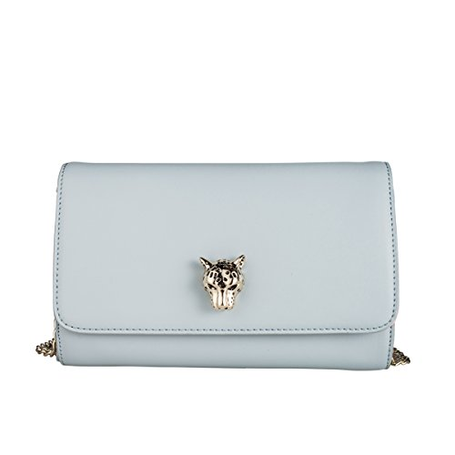 Casual Chain - La Clé LA-015Leopard Wallet Evening Clutch Mini Small Chain Bag Crossbody Leather Purse (Serenity Blue)