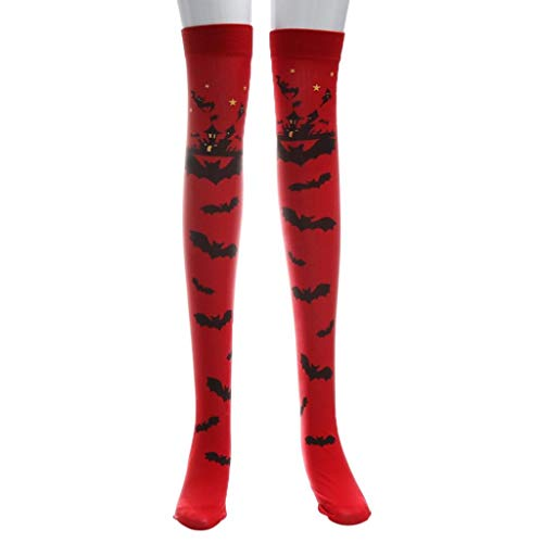 SUKEQ Clearance Over Knee High Stocking, Women's Halloween Printed Extra Long Tube Socks Fancy Dress Accessories Halloween Costume (Red) -