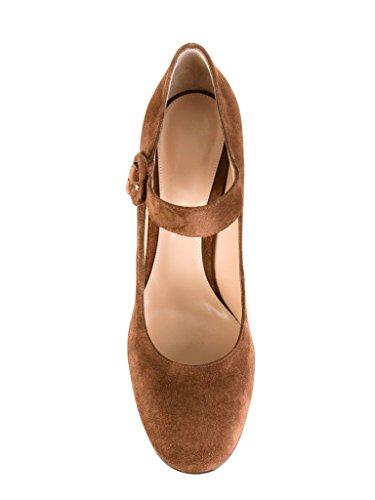 Mariage de Rond Chaussures a Mariee Bride Kaki Escarpins EDEFS Janes Mary Talon Cheville Bout Boucle Femme Pompes AOTAnwZx