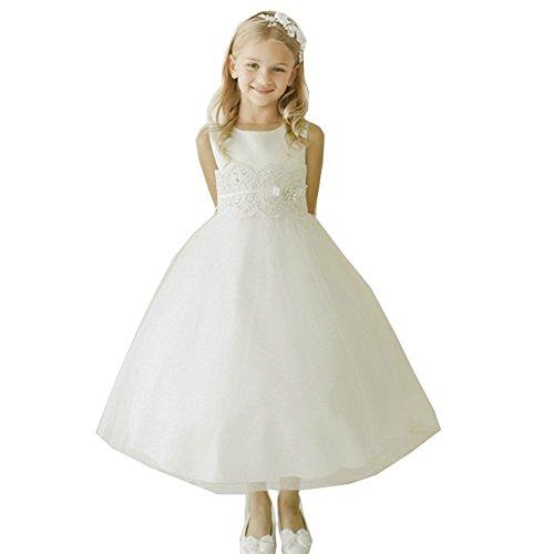 Little Girls Ivory Satin Lace Applique Brooch Accent Flower Girl Dress 4 (Dresses Top Tip Kids)