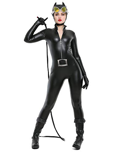 miccostumes Women's Super Heroine Bodysuit Cosplay Costume with Whip Headcover (M, Black) ()