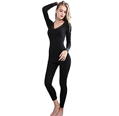 Dafina Specialties Women's Bamboo Fiber Lace V neck Seamless Thermal Underwear Suits Top & Bottom Pajama Sets