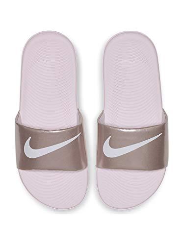 (Nike Girls' Kawa Slide (GS/PS) Sandal, Arctic Pink/White - Metallic/red/Brown, 1Y Regular US Little Kid)