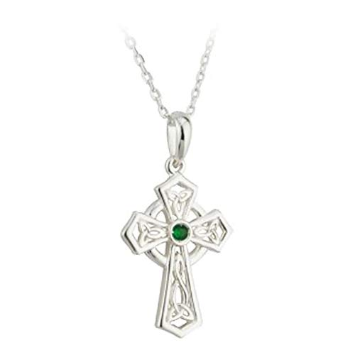 (Silver & Green Crystal Trinity Knot Celtic Cross Necklace)