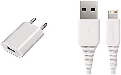 AISENS A110-0063 - Mini Cargador USB (5V/1A) Color Blanco & AmazonBasics – Cable de USB A a Lightning, con certificación MFi de Apple - Blanco, 3 m