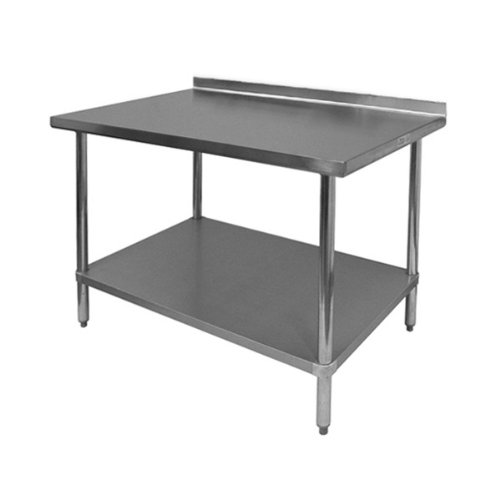 GSW Commercial Work Table with Stainless Steel Top, 1 Galvanized Undershelf, 1-1/2'' Backsplash & Adjustable Bullet Feet, 24''W x 36''L x 35''H, NSF Approved by GSW