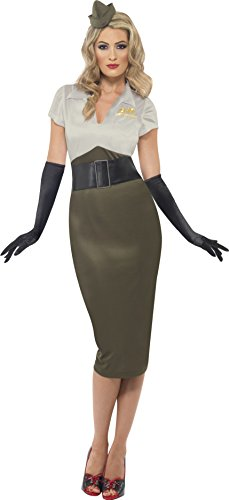 Smiffy's Women's WW2 Army Pin Up Spice Darling Costume, Dress and Hat, Wartime 40's, Serious Fun, Size 6-8, (Pinup Halloween Costumes)