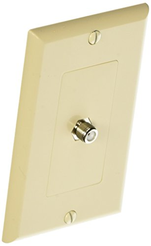 Morris 85118 Decorative Single F Connector Wall Plate, 2 Piece, - Almond Plate Connector