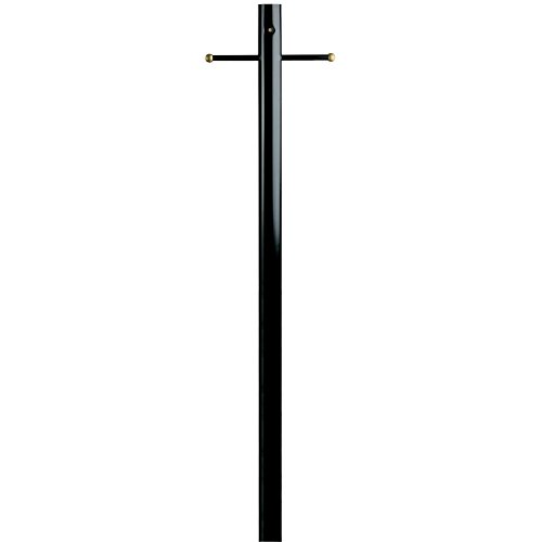 Brass Outdoor Post Light (Westinghouse Lantern Post with Ground Convenience Outlet and Dusk to Dawn Sensor, Black Finish on Steel)