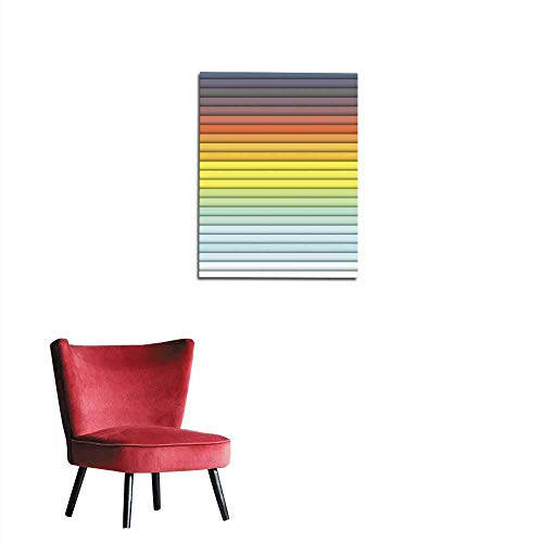 longbuyer Home Decor Wall Bright Color Horizontal Rectangles Colorful Design with Overlapping Geometric Rectangular Mural 32